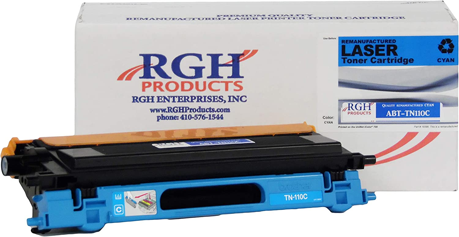 RGH Products Remanufactured Toner Cartridge ABTTN110C Tray Toner Cartridge Replacement for Brother TN110C Printer Cyan