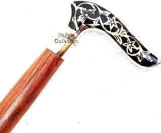 Vintage Designer Messing Handvat Nautische Stijl Victoriaanse Rietje Antieke Houten Wandelen Stick