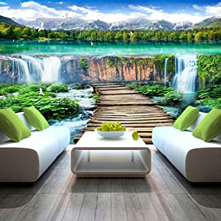 xbwy Chinese Style Waterfalls Landscape Wood Bridge Photo Mural Wallpaper Living Room Tv Sofa Backdrop Wall Covering Home Decor Mural-400X280Cm