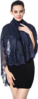 Women Lightweight Fashion Lace Scarf Solid Color Wrap Shawl Gzcvba Soft Evening Coverup