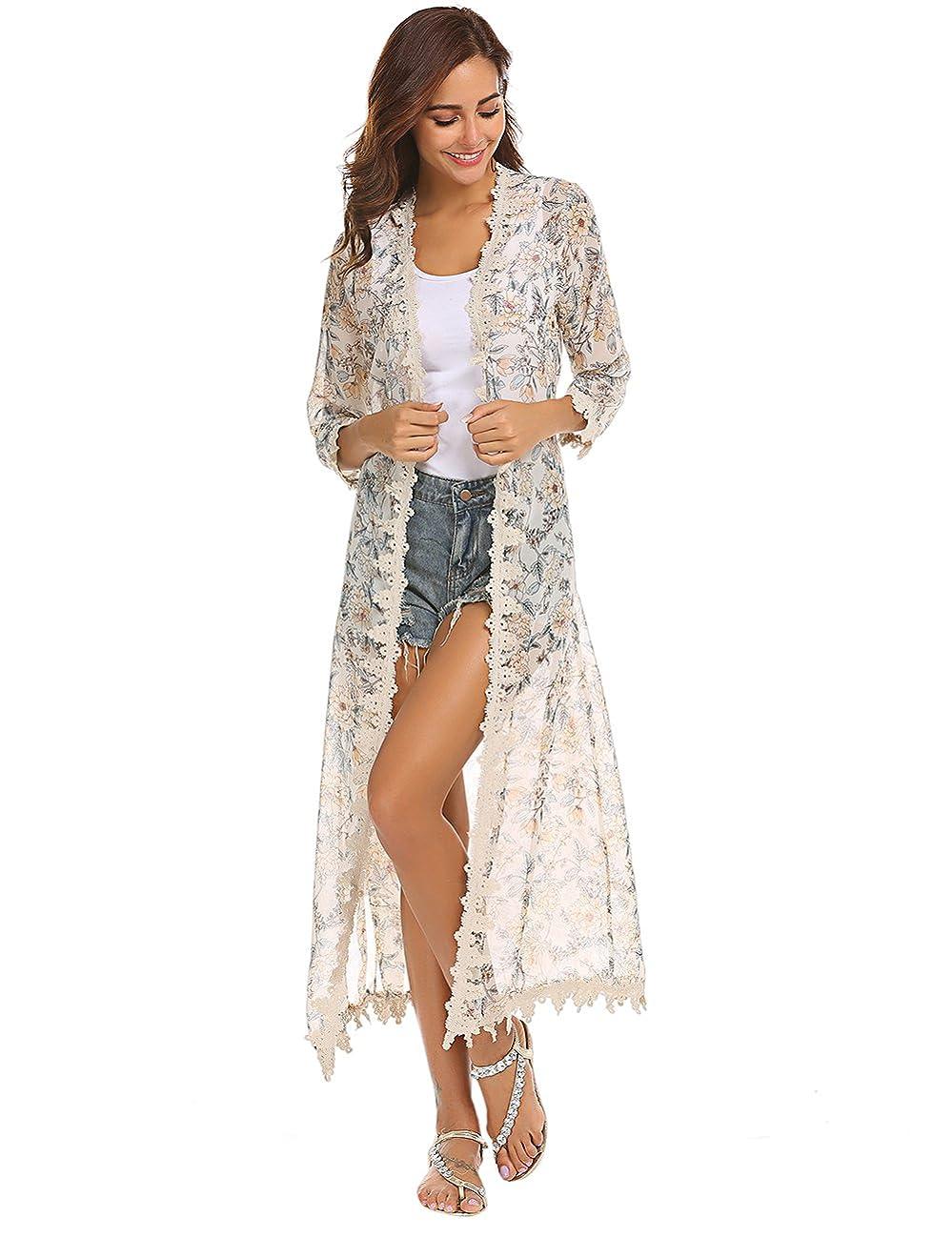 Women's 3/4 Sleeve Long Chiffon Floral Kimono Cardigan Crochet Lace Trim Beach Cover up