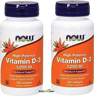 Now Foods Vitamin D3 1000 IU - 360 softgels (Pack of 2)