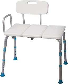 Aquasense Adjustable Bath and Shower Transfer Bench with Reversible Backrest