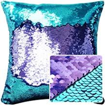 HeMiaor Mermaid Sequins Cushion Cover Glitter Pillow Case Reversible Sparkle Cushion Cases for Sofa, 16x16-Inch (Teal and Light Purple)
