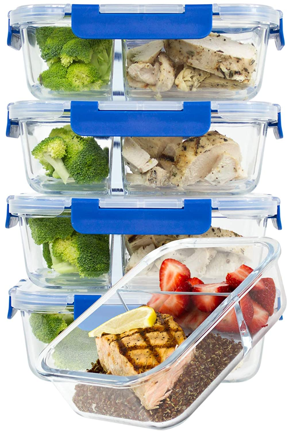[LARGER PREMIUM 5 SET] 2 Compartment Glass Meal Prep Containers with Lifetime Lasting Snap Locking Lids Glass Food Containers BPA-Free, Microwave, Oven, Freezer and Dishwasher Safe (4.8 Cups, 39 Oz.)