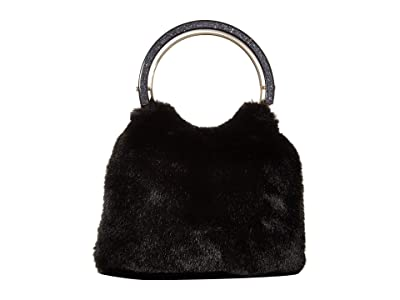Kate Spade New York Betty Fur Swag Bag (Black) Bags