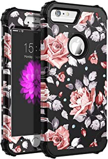 SKYLMW Case for iPhone 6 Plus, Case for iPhone 6s Plus, Three Layer Heavy Duty High Impact Resistant Hybrid Protective Cover Case for iPhone 6 Plus/6s Plus, Rose Flower/Black