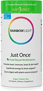 Rainbow Light - Just Once Multivitamin - Food-based, Natural Ingredients, Provides Key Vitamins, Minerals, Antioxidant Protection, Supports Energy, Digestion, Skin, Eye and Immune Health - 120 Tablets