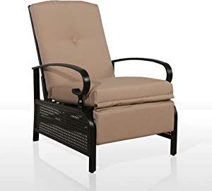 Iwicker Patio Outdoor Adjustable Recliner Chair with Cushion, Beige