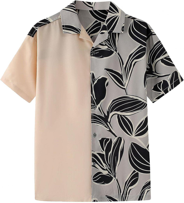 Men's Color Block Patchwork Hawaiian Beach Flower Printed Lapel Short Sleeve Cardigan Shirt Top Blouse