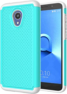 LEXNEC Case for Alcatel 1X Evolve,Alcatel 1X Evolve/Alcatel TCL LX (A502DL)/Alcatel Ideal Xtra (5059R) Case Cover, Shockproof Dual Layer Protective Phone Case Cover for Alcatel 1X Evolve - Turquoise