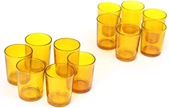 Hosley's Set of 12 Amber Glass LED Votive Candle, Tea Light Holders. Ideal for Weddings, Parties, Spa & Aromatherapy. Great Value. Use with Hosley LED Tea Lights and Votive's. Bulk Buy O6