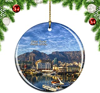 Weekino South Africa Table Mountain Cape Town Christmas Xmas Tree Ornament Decoration Hanging Pendant Decor City Travel Souvenir Collection Double Sided Porcelain 2.85 Inch