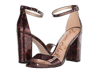 Sam Edelman Yaro Ankle Strap Sandal Heel (Black/Brown Tortoise Patent) Women