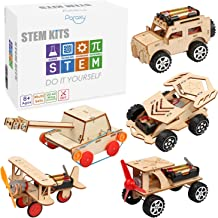 5 in 1 STEM Kit, Wooden Mechanical Model Cars Kits,Motorized Construction Engineering Set, Assembly Constructor 3D Buildin...