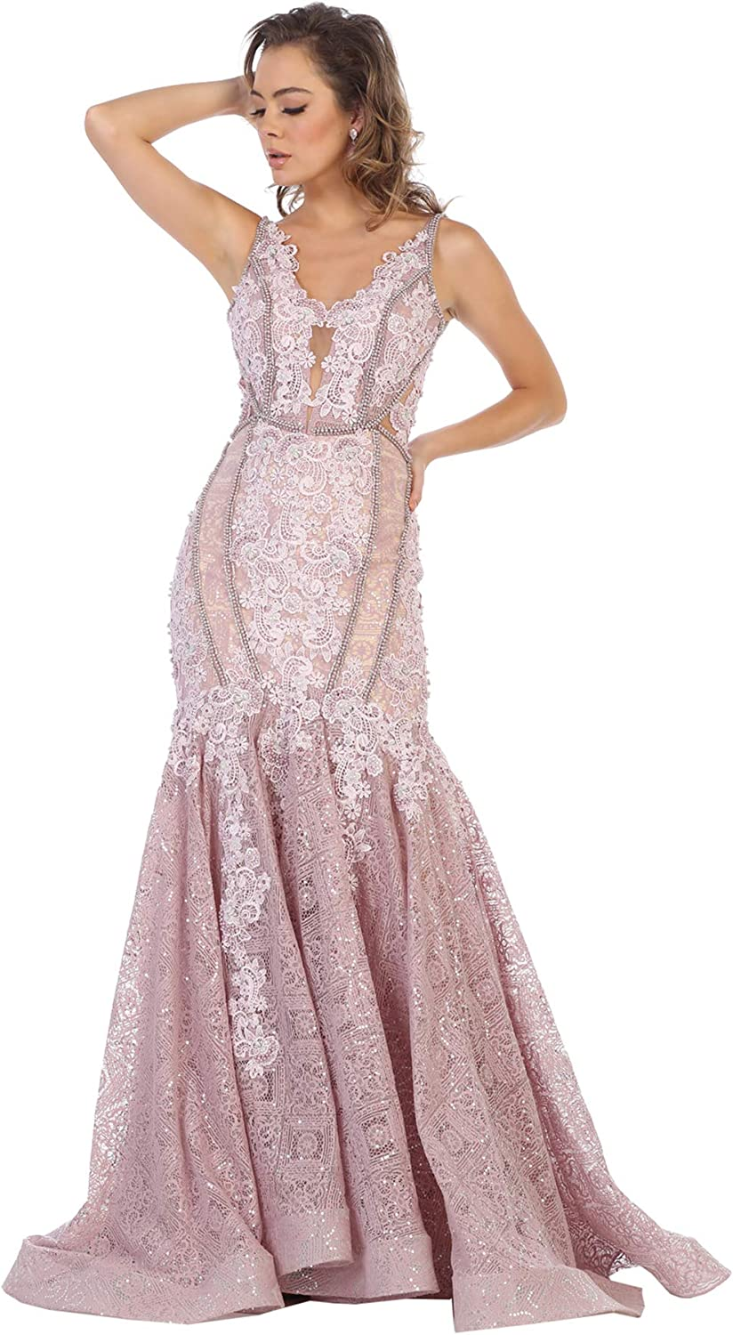 Formal Dress Shops Inc FDS7735 Floral Lace Mermaid Evening Gown