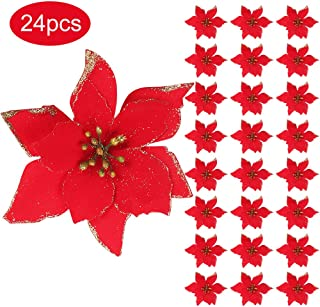 RUBFAC 24pcs Glitter Red Poinsettia Christmas Tree Ornaments 5.1 Inches Artificial Poinsettia Flowers Christmas Tree Wreath Decorations