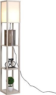 HOMCOM Lampadaire étagère Lampe étagère 26L x 26l x 160H cm 3 étagères 4 Niveaux MDF Gris Clair