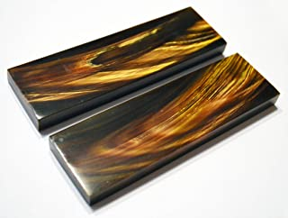 Whole Earth Supply 5 inch Black Buffalo Horn Gold Streaks Scales Handle Set Pair Handles Material for Knife Making Blanks Blades Knives Custom
