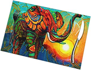 PrelerDIY Tribe Painting Elephant Placemats Set of 6 Heat Insulation Stain Resistant Non Slip Washable Table Mats Kitchen Dining Table Decoration, 18 x 12 in