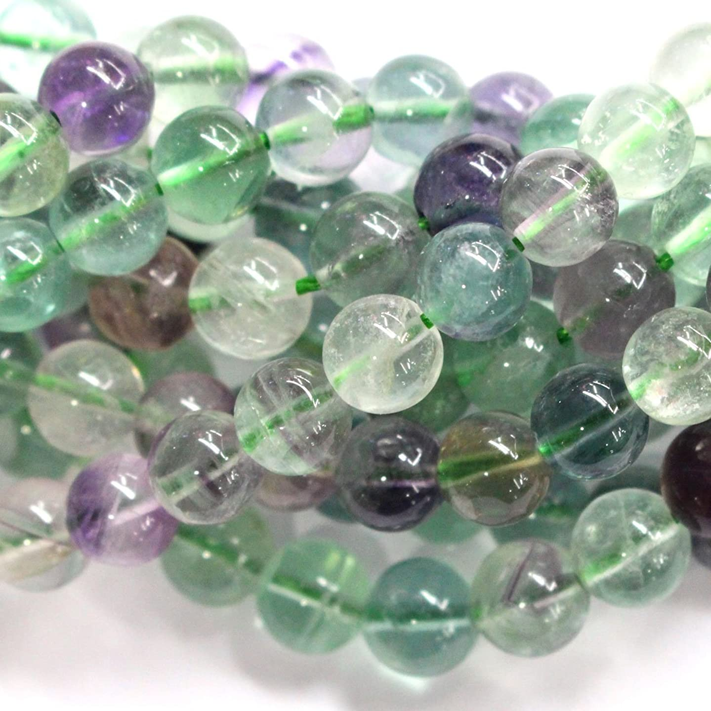 Natural Fluorite Round Findings Jewerlry Making Gemstone Beads (8mm)
