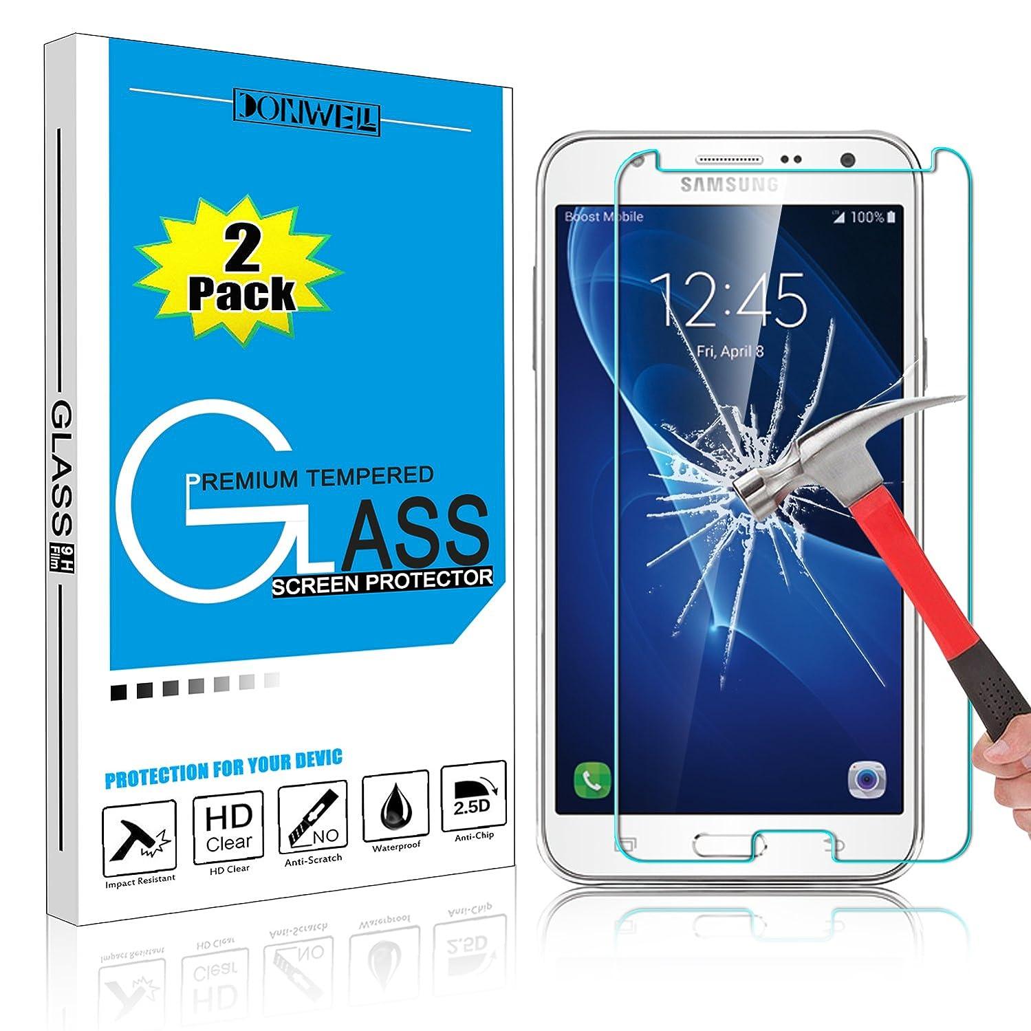 [ 2 Pack ] DONWELL Galaxy J7 2017 Tempered Glass Screen Protector Friendly Bubble Free Ultra Slim Thin Anti Scratch Cover for Samsung Galaxy J7 sky pro/J7 V/J7 Perx/SM-J730F 5.5