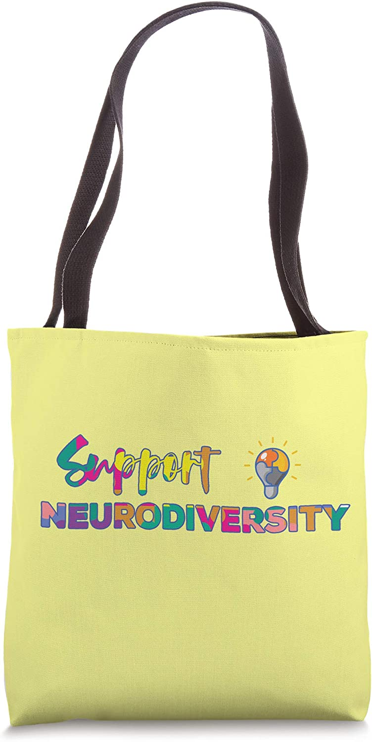 Support Neurodiversity Autism ADHD Awareness Rainbow Puzzle Tote Bag