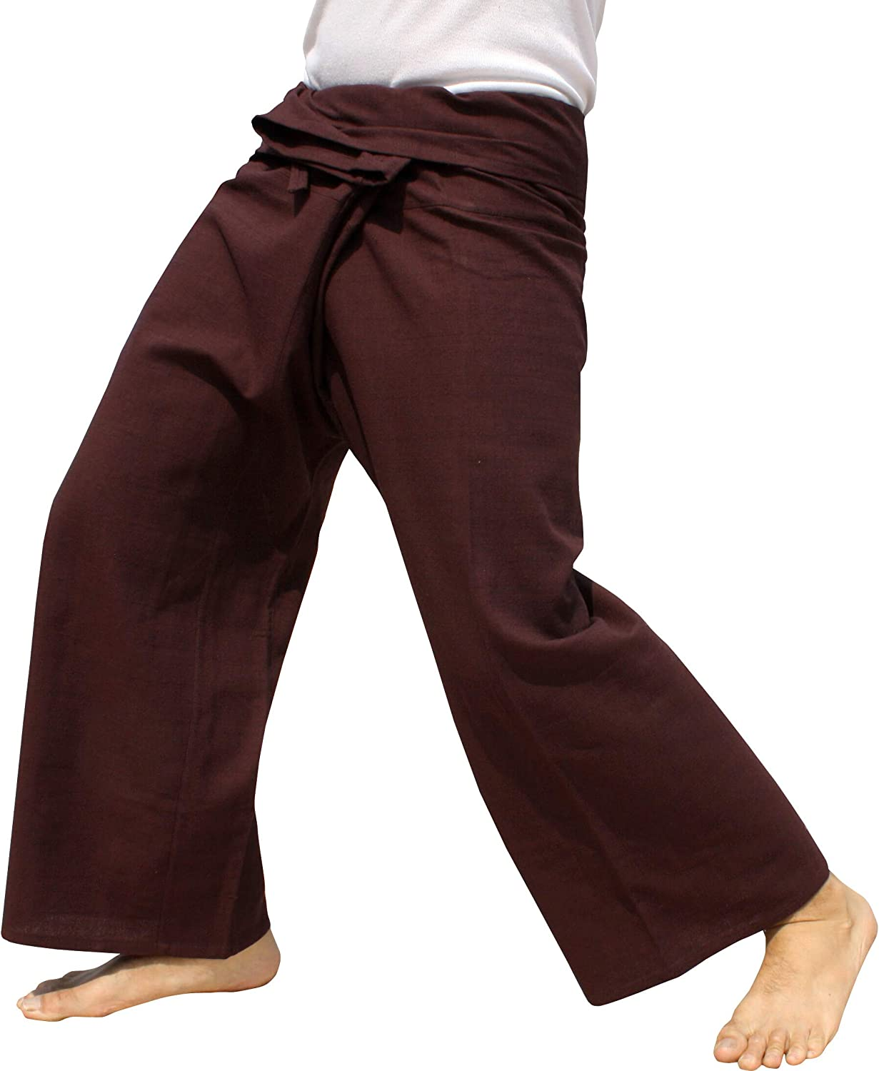 RaanPahMuang Brand Yeaphai Cotton Thailand Fisherman Plain Wrap Pants