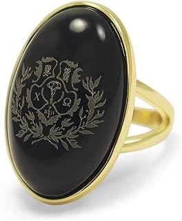 Chi Omega Sorority Crest Duchess Ring- 14k Brass with Black Onyx