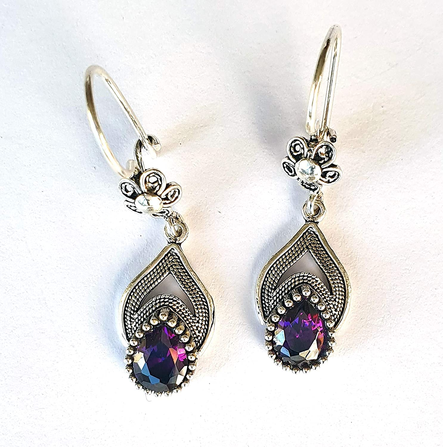 Dedication Handmade Sterling Silver Amethyst Free shipping anywhere in the nation Earrings February B Women for