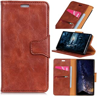 Oppo A7 Case, Luxury Genuine Leather Case with Viewing Stand, Flip Cover Handmade for Oppo A7 (Brown)