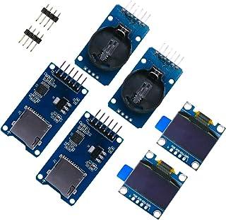 ZHITING Echtzeit Uhr Set, 2 Stück 2,4 cm (0,96 Zoll) IIC OLED LCD Bildschirm, LED 128 x 64 Display, blau, mit 2 DS3231 AT24C32 IIC RTC Uhrmodulen + 2 Stück Micro SD Mini TF Kartenadapter Leser Treiber