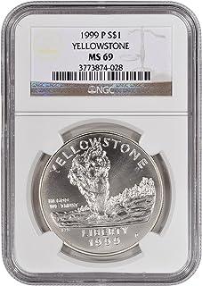 1999-P US Yellowstone National Park Commemorative BU Silver Dollar NGC MS70