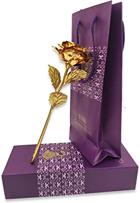 Whopper 24K Golden Color Rose with Gift Box and A Nice Carry Bag Best Gift to Express Love On Valentine's Day, Rose Day, Anniversary Or Decor Purpose