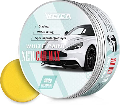 WEICA Car Wax White Solid for White Cars, Carnauba Car Wax Kit Cleaner, Car Waxing Scratch Resistance Auto Ceramics Coating 180g with Free Waxing Sponge and Towel-White: image