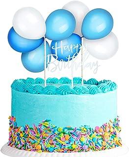 Latex Balloon Cloud Cake Topper, Mini Balloon Garland Cake Topper Confetti Balloon Acrylic Happy Birthday Cupcake Topper f...