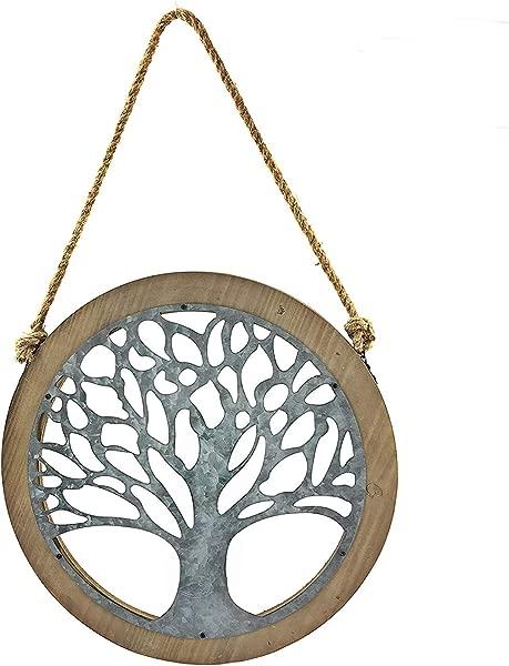 Bellaa 23905 Tree Of Life Wood Metal Wall Art Galvanised 24 Inch