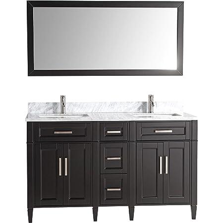 Design Element Dec076a London 61 Double Sink Vanity Set In Espresso Inch Bathroom Vanities