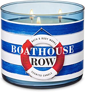 Bath & Body Works Boathouse Row Candle 3 Wick with Essential Oils 14.5 oz/411g with Decorative Lid