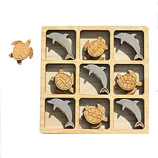 Wood Dolphin & Sea Turtle Tic Tac Toe - Board Game - Party Fun - Beach Theme