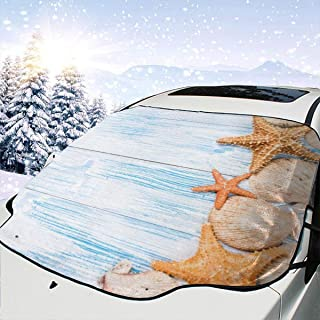 Starfishes Seashells Car Windshield Snow Cover,Waterproof Frost Guard Winter Windshield Snow Ice Cover with Side Mirror Covers,Windproof Summer Windshield Sun Shade Fits Most Cars,SUVs,Minivans 58 x 4