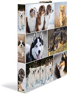 HERMA 19358–Archivador de anillas DIN A4, de cartón serie animales, diseño de perros, 4anillas, lomo de 35mm, 1archivador estrecho, color perro 4 anillas