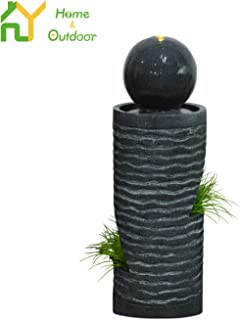 S.Y. Water Fountains Outdoor Indoor Cascading Rock Decorative Waterfall Features with LED Lights & Pump for Patio Garden Backyard, 38 x 15 x 15 inches
