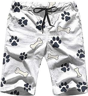 INTERESTPRINT Mens Water Shorts Cute Cat Dog Footprints Drawstring Swim Trunks XS-6XL
