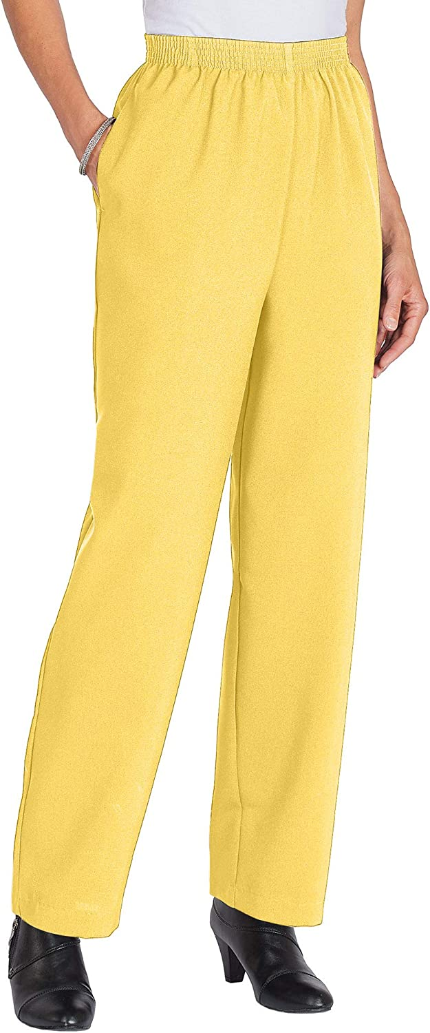 AmeriMark Women's Casual Pull-On Knit Pants with Elastic Waist and Side Pockets Sunshine 12 Misses