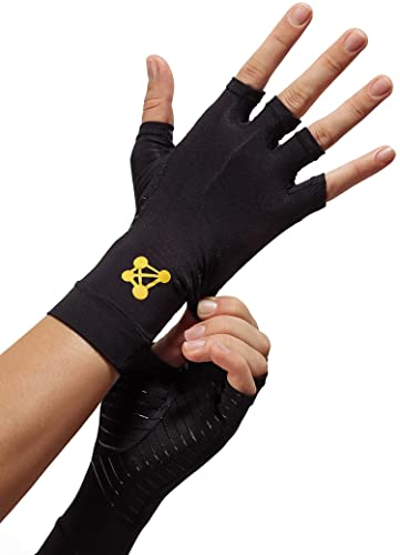 CopperJoint Fingerless Compression Gloves - Copper-Infused Designed to Support Your Hands - Rapid Recovery and Pain Relief, All Lifestyles - Pair