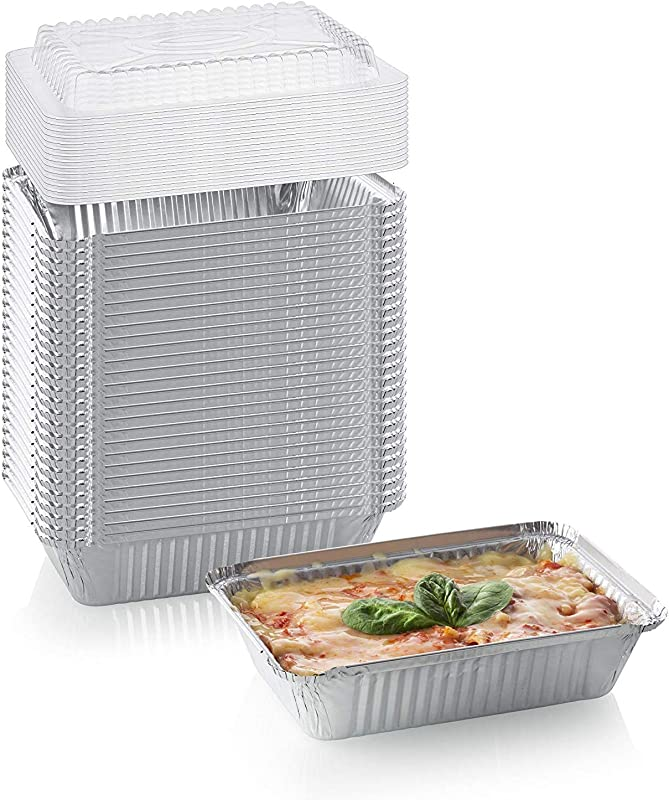 50 Pack Heavy Duty Disposable Aluminum Oblong Foil Pans With Lid Covers 100 Recyclable Tin Food Storage Tray Extra Sturdy Containers For Cooking Baking Meal Prep Takeout 2 25lb