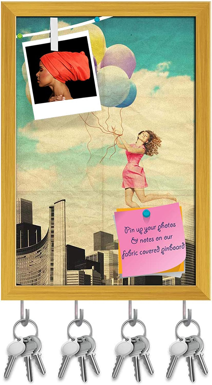 Artzfolio Fantasy Retro Artwork with Beautiful Woman D9 Key Holder Hooks   Notice Pin Board   golden Frame 12 X 17.5Inch