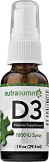 Nutrasumma Vitamin D3 1000 IU Spray -1oz- Naturally High Absorption Rate Supports Bone Boosts Immune System Vitamin Supple...