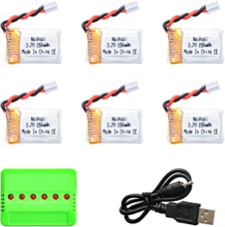 Noiposi 6PCS Upgraded 3.7V 150MAH Battery with X6 Charger Conversion Cable for JJRC H36 Eachine E010 GoolRC T36 NIHUI NH010